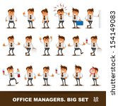 set of happy office man. vector ... | Shutterstock .eps vector #154149083