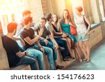 group of friends together in... | Shutterstock . vector #154176623