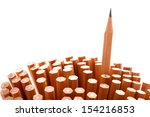 Small photo of Group of pencils on white background