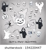 halloween objects collection.... | Shutterstock .eps vector #154220447