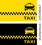 black and yellow taxi card and taxi car image - stock vector