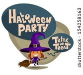 halloween party. children in... | Shutterstock .eps vector #154258163