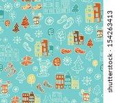 winter cute seamless pattern in ... | Shutterstock .eps vector #154263413