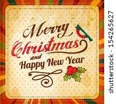 vector retro christmas card...   Shutterstock .eps vector #154265627