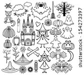 halloween icons isolated set... | Shutterstock . vector #154273397
