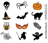 abstract halloween icons on... | Shutterstock .eps vector #154331213