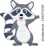 raccoon cartoon waving | Shutterstock .eps vector #154371533