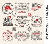 vintage style christmas labels | Shutterstock .eps vector #154375367