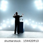 businessman standing on podium...   Shutterstock . vector #154420913