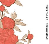 beautiful card with peonies | Shutterstock .eps vector #154435253