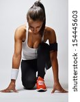 beautiful fitness woman  studio ... | Shutterstock . vector #154445603