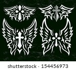 Cross And Wings Vector Set  ...