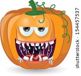 cartoon pumpkin for halloween  | Shutterstock .eps vector #154457537