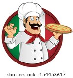 italian chef with a pizza in... | Shutterstock .eps vector #154458617