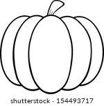 black and white pumpkin cartoon ... | Shutterstock .eps vector #154493717