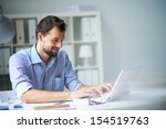handsome businessman working... | Shutterstock . vector #154519763