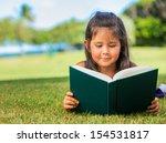 cute little girl reading... | Shutterstock . vector #154531817