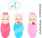 three toddlers show different... | Shutterstock .eps vector #154542143