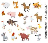 Farm Animals Set On White...