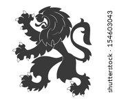 standing black heraldic lion | Shutterstock .eps vector #154603043