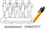 drawing of business teamwork... | Shutterstock .eps vector #154607477