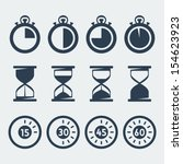 vector isolated timers icons set | Shutterstock .eps vector #154623923