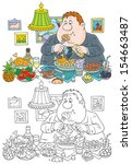 banquet,black and white,cartoon,cartoony,chubby,clip-art,delicious,delicious food,diet,dine,dining,dinner,drawing,eats,entertain