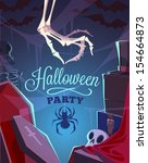 creepy skeleton hand. halloween ... | Shutterstock .eps vector #154664873