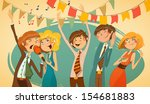 cheerful corporate party.... | Shutterstock .eps vector #154681883