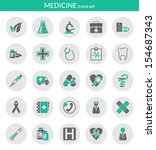Icons set about medicine. Flat icons inside circles.