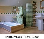big bathroom with green mosaic - stock photo