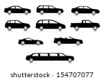 Silhouettes of different body car types. Set 2