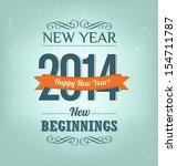 2014   calligraphic new year... | Shutterstock .eps vector #154711787