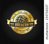 retro styled label of beer.... | Shutterstock .eps vector #154733237