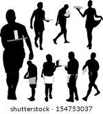 waiters and waitresses... | Shutterstock .eps vector #154753037