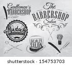 Set Barbershop, scissors, shaving brush, razor, cylinder, in a retro style and stylized for the drawing with coal. Vector