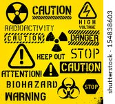 set of warning hazard symbols... | Shutterstock .eps vector #154838603