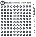 natural and ecology icons black ... | Shutterstock .eps vector #154844813