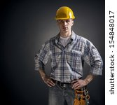 young builder on a black... | Shutterstock . vector #154848017