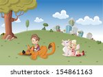 colorful cute happy cartoon boy ... | Shutterstock .eps vector #154861163