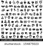 set of 110 love flat icons ... | Shutterstock .eps vector #154875023
