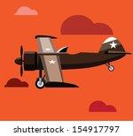 vector retro biplane | Shutterstock .eps vector #154917797