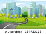 illustration of a narrow road... | Shutterstock .eps vector #154923113