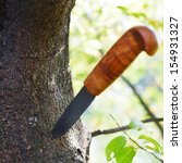 hunting knife with wooden... | Shutterstock . vector #154931327