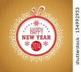 new year ornate greeting card... | Shutterstock .eps vector #154992953