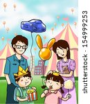 happy family in fun festival | Shutterstock . vector #154999253