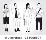 set of people using smart... | Shutterstock .eps vector #155008577