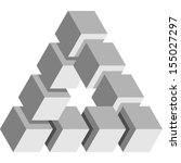 impossible triangle cubes | Shutterstock .eps vector #155027297