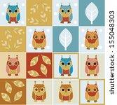 owls   four seamless... | Shutterstock . vector #155048303