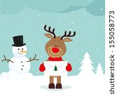 little reindeer with love... | Shutterstock .eps vector #155058773